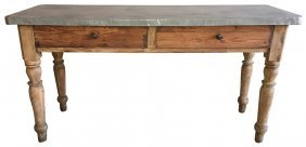19th C. French Farm Table With Zinc Top