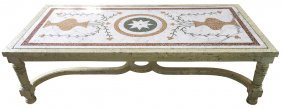 Unusual Inlaid Marble Coffee Table With