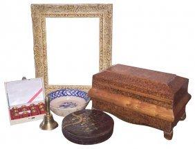 Job Lot Of 6 Items, Inc . Amboyna Burl Box,
