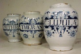 Lot 3 Blue & White Apothecary Jars