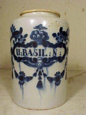 "Blue & White Apothecary Jar, ""BASIL:N"""