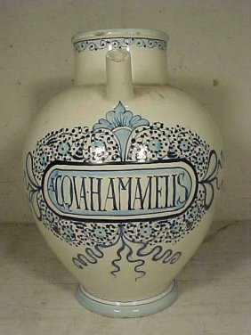 "Large Wet Drug Jar, ""HAMANELIS"", Blue & White"