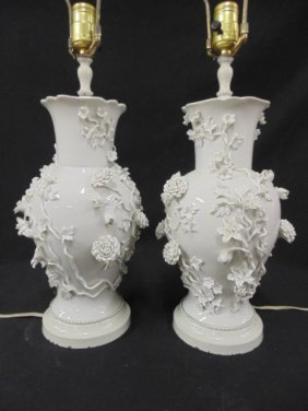 "Pair Of Blanc De Chin Table Lamps, 13"" Tall"