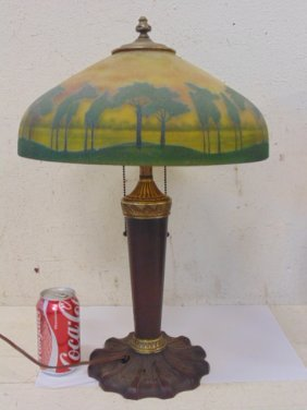Reverse Painted Table Lamp, Copper Base,