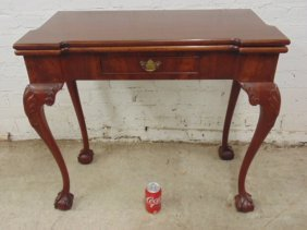 Mahogany Chippendale Style Swing Leg Console Table,