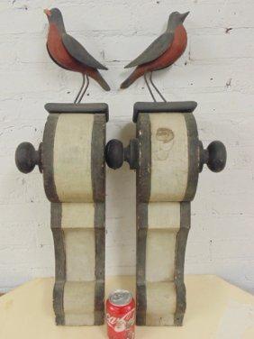 Pair Folk Art Brackets With Birds, In Original Paint