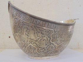Russian Imperial Style Silver Kovsh Bowl By
