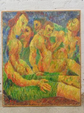 Oil On Canvas, Figures, Signed Jennings Tofel