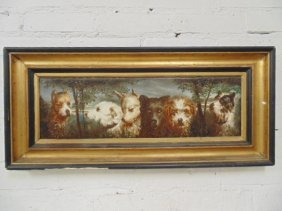 Painting On Terra Cotta Plaque, Dogs, French Mark On