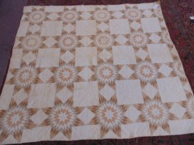 Quilt, White Field, Brown, Beige Geometric Design