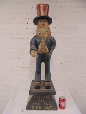 Carved Wood & Paint Decorated Uncle Sam Figure