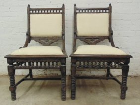 Pair Side Chairs, Oak