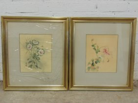 Pair Asian Watercolors, Paintings On Silk