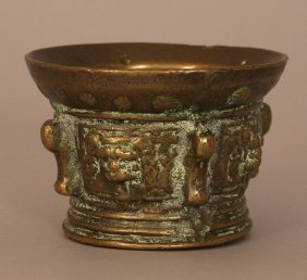 Spanish Mortar, Bronze Casted With Four Lion Head