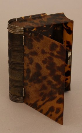 Dutch Tortoiseshell Box In Form Of A Book With Silver