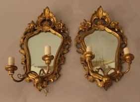 Pair Of Rococo Style Mirros Each With Two Branches For