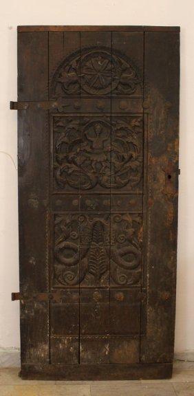 English Or Scandinavian Rustic Door With Two Iron