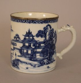 Chinese Porcelain Blue And White Tankard With Porcelain