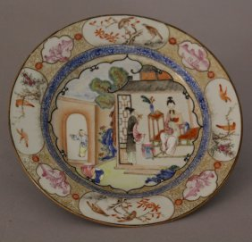 Chinese Porcelain Salver With Very Fine Painted Family