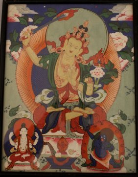 East Asian Watercolour Of Three Godnesses With Flower