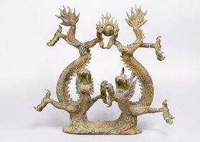 Chinese Bronze Decorations Of Two Dragons On