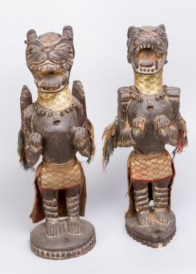 Pair Of Guardian Animal Sculptures, Possibly Dragons Or