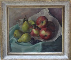 M. Stanek, Still Life With Apples And Pears, Oil On