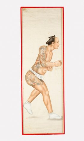 Japanese Roll Painting Of A Wrestler With Tatoos;