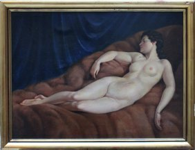 Plank Josef (1815-1901), Female Nude, Oil On Board,