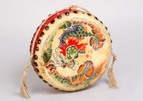 Asian Folk Drumm With Painted And Coloured Decorations,