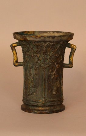 Vessel In Gothic Manner, Bronze Cast With Figures And