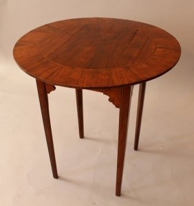 Dutch Or English Small Round Table, On Four Feet With