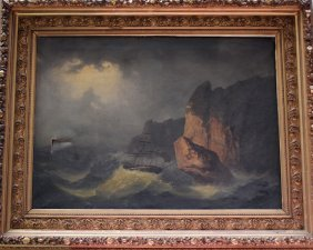 French Artist 19th Century, Ships In Heavy Sea By A