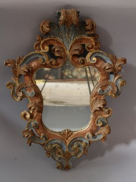 Florentine Renaissance Style Mirror, Wood Carved With
