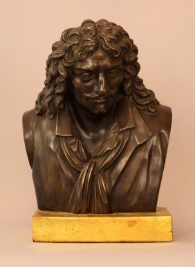 French Bronze Bust Of Moliere (1622-1673), Bronze Cast,