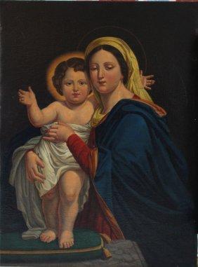 Roman Artist 19th Century, Maria With Jesus; Oil On