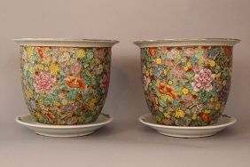 Pair Of Chinese Porcelain Flowerpots With Multicoloured