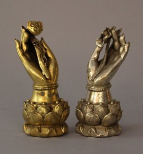 Pair Of Buddha's Hands, Bronze Cast With Fine Hand
