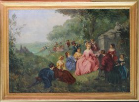 French School 19th Century, Large Scene With Ladies And