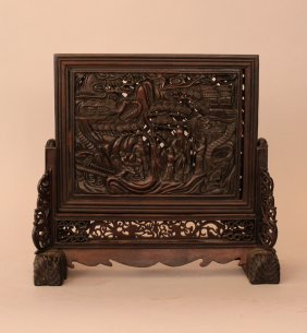 Chinese Table Paravent With Carved Figural And
