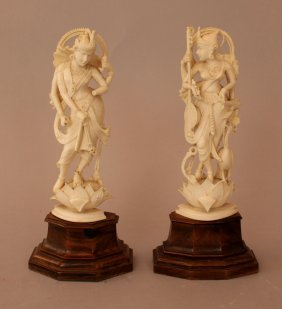 Pair Of Indian Ivory Goddnesses Finely Carved On Lotus