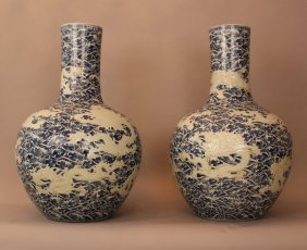 Pair Of Very Large Chinese Palace Vases With Long Thin