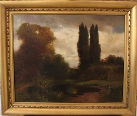 Paul Unbereit (1884-1937), Pond In Landscape; Oil On