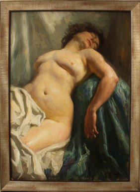 Arthur Kampf (1864-1950), Laying Nude, Oil On Canvas,