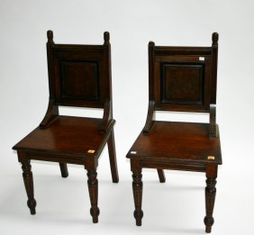 A Pair Of Walnut Hall Chairs, Edwardian, Each With