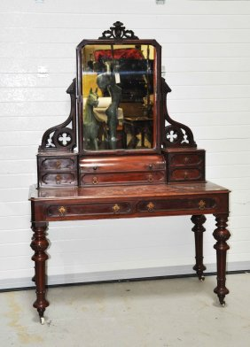 A Mahogany Dressing Table, Victorian, With Spring