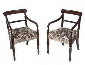 A Pair Of Mahogany Dining Room Armchairs, George I