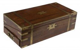 A Large Mahogany Brass Bound Lap Desk, George III