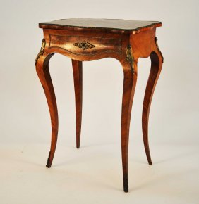 A Serpentine Shaped Kingwood And Parquetry Ladies