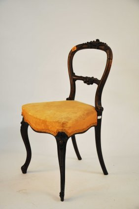 A  Balloon Back Side  Chair, Victorian, With Front